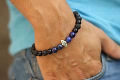 Šperky - Pánsky náramok lapis, onyx a láva - 8473474_