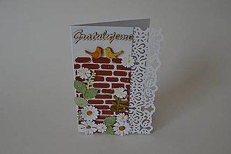 Papiernictvo - pohľadnica tehlová s vtáčikmi - 8477217_