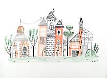 - Mesto 21 - ilustrácia obraz / originál maľba - 8476194_