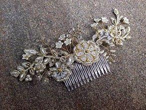 Ozdoby do vlasov - čipkový Ivory hrebienok so zlatým lemovaním - 8476495_