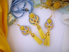 Sady šperkov - žlto modrý šujtáš set (prívesok + náušnice) - 8478760_