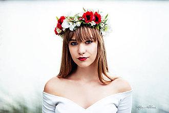 """Ozdoby do vlasov - Kvetinový venček """" Červeň v lícach"""" - 8478719_"""