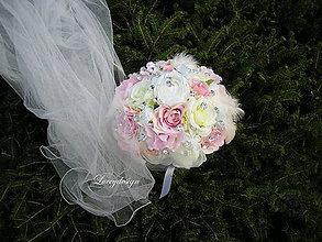 Kytice pre nevestu - svadobná kytica..crystal&pierka... - 8478541_