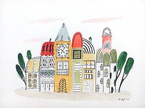 Obrazy - Mesto 22 - ilustrácia originál obraz / maľba - 8479625_