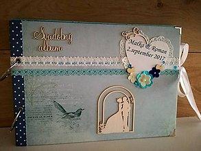 Papiernictvo - svadobný album_ modrý vtáčik - 8478951_
