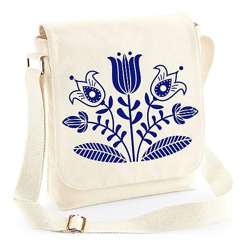 Taška na plece kvety - ľudový motív (Béžová - modrá potlač)