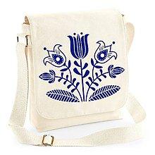 Iné tašky - Taška na plece kvety - ľudový motív (Béžová - modrá potlač) - 8480458_
