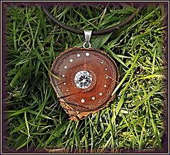 Náhrdelníky - 519.  Drevený náhrdelník - OLIVA - Zirkon 10mm - 8479999_