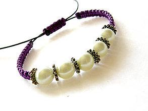 Náramky - violet perly shamballa - 8481214_