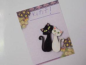 Magnetky - Magnetka - Black and White cat - 8481279_