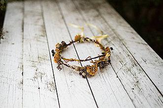 """Ozdoby do vlasov - Jesenný venček """"čas zlatých sľubov"""" - 8479226_"""