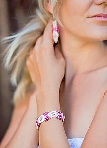 Náramky - Bielo-ružový náramok - 8481428_