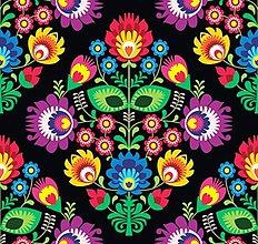 Textil - Folklórna na čiernom podklade - 8482304_
