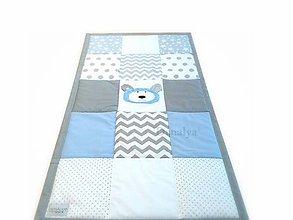 Textil - Prehoz do postieľky Basic v svetlomodrom s mackom 120x60cm - 8484509_
