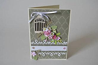 Papiernictvo - pohľadnica s vtáčou klietkou - 8482909_
