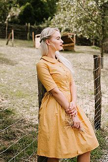 Šaty - Šaty THEA hořčicové s mini puntíčky  - 8482354_