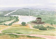 Obrazy - Rozhľadňa v Hainburgu - akvarel - 8484278_