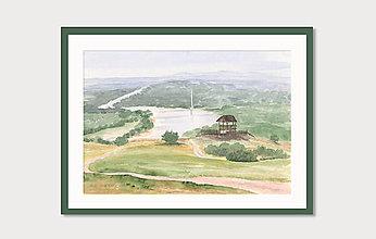 Obrazy - Rozhľadňa v Hainburgu - akvarel - 8484270_