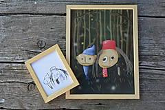 Grafika - ILUSTRÁCIA podľa detskej kresby v drevenom ráme - 2ks - 8484640_