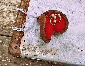 Prstene - podnos na svadobné prstienky Srdce - 8483805_