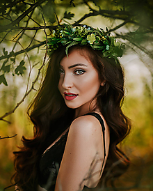 Ozdoby do vlasov - Greenery lesní věneček - 8484745_