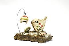 Dekorácie - Keramická dekorácia Vtáčik a zvonček. - 8482791_