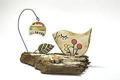 Dekorácie - Keramická dekorácia Vtáčik a zvonček. - 8482795_