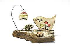 Dekorácie - Keramická dekorácia Vtáčik a zvonček. - 8482797_