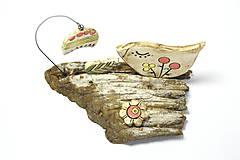 Dekorácie - Keramická dekorácia Vtáčik a zvonček. - 8482801_