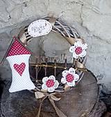 Dekorácie - Venček na dvere - Malinová láska - 8486350_