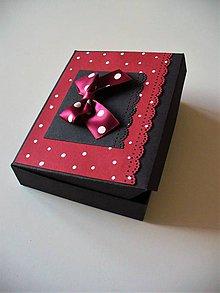 Krabičky - bodky na bordovej... - 8486777_