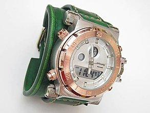 Náramky - Infantry zelené kožené hodinky - 8487247_