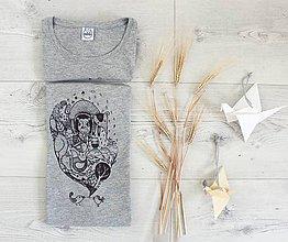 Tričká - Tričko voľné_šedé vtáčky rapotačky - 8486868_