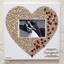 Darčeky pre svadobčanov - Srdiečkové srdce s fotkou + kartička s červenými srdiečkami na výročie - 8486471_