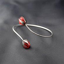 Náramky - Recy náramok červené puky - 8486642_