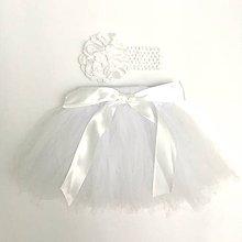 Detské oblečenie - Detská tutu suknička s čelenkou biela - 8487171_