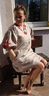 Šaty - Ľanové šaty - 8485221_