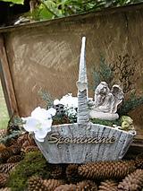 Dekorácie - Spomienková dekorácia s anjelom v košíku - 8489775_