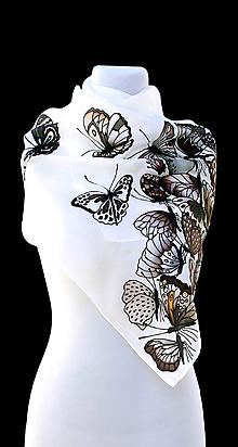 Šatky - Hodvábna šatka s hnedými motýľmi - Motýlí žúr - 8489548_