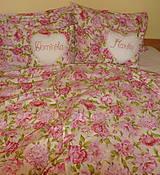 Úžitkový textil - Svadobný dar Obliečky Pivónie s menami - 8488002_