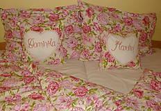Úžitkový textil - Svadobný dar Obliečky Pivónie s menami - 8488006_