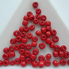 Korálky - Rokajl 4mm-5g (červená) - 8490175_