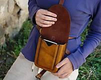 Tašky - Kožená kapsa na opasok dvojitá - 8488954_