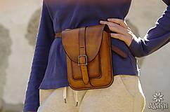 Tašky - Kožená kapsa na opasok dvojitá - 8488956_