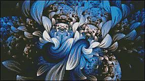 M028 Abstrakt modrý - predloha na krížikovú výšivku