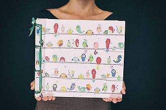 Papiernictvo - Fotoalbum klasický, polyetylénový obal s potlačou vtáčikov - 8487701_