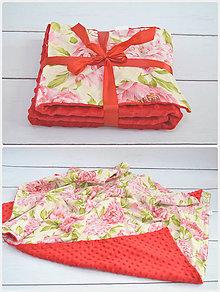 Úžitkový textil - Minky červené kvety - 8489815_