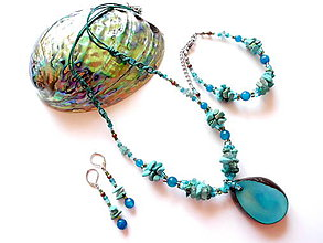 Sady šperkov - Tagua turquesa - 8489763_
