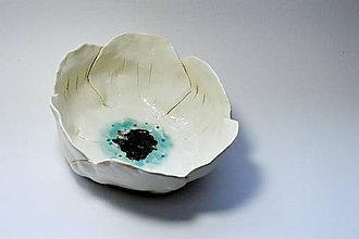 Nádoby - Keramická miska Smotanový kvietok - 8487655_