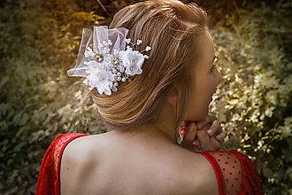 Ozdoby do vlasov - Svadobný hrebienok s tylom - 8489831_
